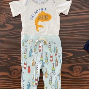 Mudpie onesie pants I'm a Keeper fish lures 6-9 mo